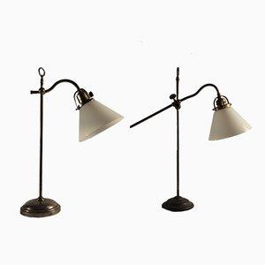 Lampes Antiques en Verre Opalin, Set de 2