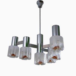Lámpara de araña de vidrio soplado y metal de Mazzega, años 70