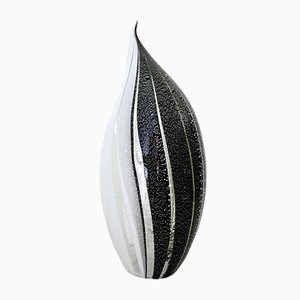 Lampada da tavolo in vetro di Murano bianco e nero con inserti in argento