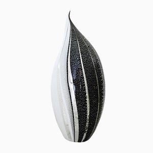Lámpara de mesa de cristal de Murano blanco y negro con líneas plateadas, años 80