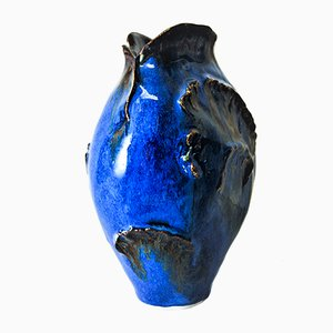 Jarrón en azul de cerámica de Leif Heiberg Myrdam, años 70