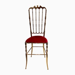 Mid-Century High-Backed Brass Chair