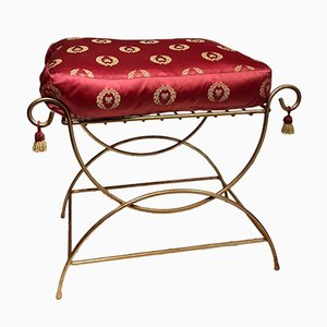 Vintage Regency Gold Metal Footstool