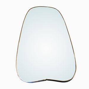 Specchio lungo con cornice in ottone, anni '50