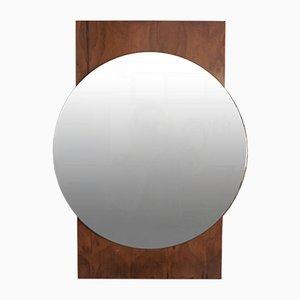 Specchio rotondo con cornice in teak, anni '60