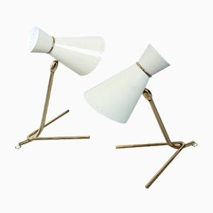 Mid-Century Brass Tripod Diabolo Table Lamps