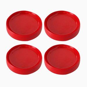 Platos llanos Mid-Century rojos de Kristian Vedel para Torben Ørksov. Juego de 4
