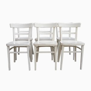 Vintage White Bistro Chairs, Set of 6