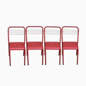 Vintage French Metal Bistro Chairs, Set of 4