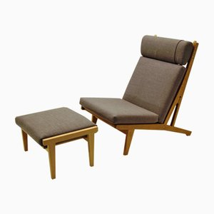 GE 375 Lounge Chair & Footstool by Hans J. Wegner for Getama, 1960s