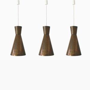 Lámparas colgantes diábolos Mid-Century modernas grandes, años 50. Juego de 3