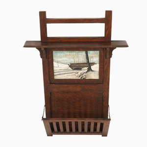 Dutch Oak Wall Magazine Rack, 1900s