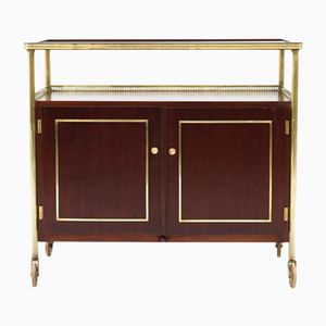 French Mahogany & Brass Bar Cart, 1950s
