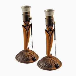 Lámparas modernistas talladas en madera con motivo floral, década de 1900. Juego de 2