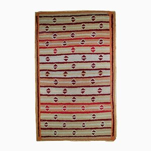Antique Handmade American Hooked Rug, 1890s