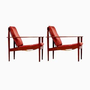 Teak & Leder Armlehnstühle von Grete Jalk für Poul Jeppesens Møbelfabrik, 1950er, 2er Set