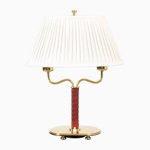 Lámparas de mesa de latón y cuero de Josef Frank para Svenskt Tenn, años 50. Juego de 2