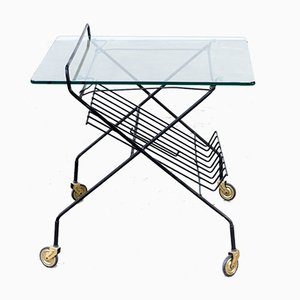 Metal and Glass Serving Trolley with Magazine Holder, 1950s