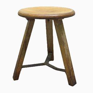 Taburete industrial vintage de madera