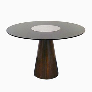 Italian Dining Table with Conical Foot in Rosewood and Smoked Glass, 1970s