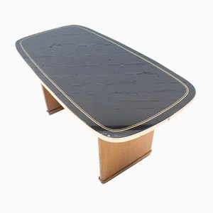 Mid-Century Coffee Table with Black Glass Top