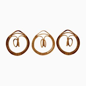 Rattan Coat Hooks by Franco Albini & Franca Held for Pierantonio Bonacina, 1960s, Set of 3