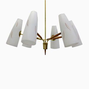 6-Armed Opal Glass Chandelier by Rupert Nikoll, 1950s
