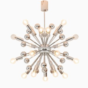 French Chromed Sputnik Chandelier, 1970s