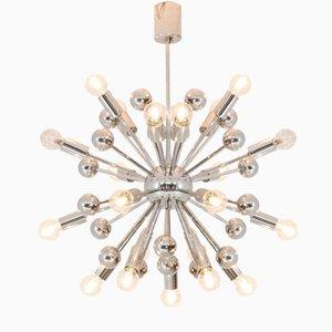 Lámpara de araña Sputnik francesa de metal cromado