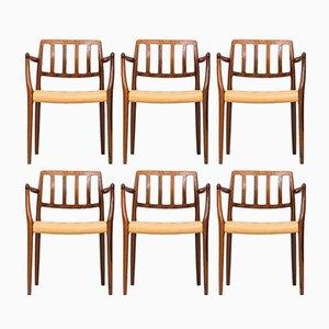 Set Chaise de Salon Modèle 83/66 & Fauteuil par Niels Otto Møller pour J.L. Møller, 1960s, Set de 6