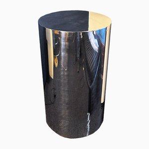 Tavolino a forma di colonna in acciaio, anni '70