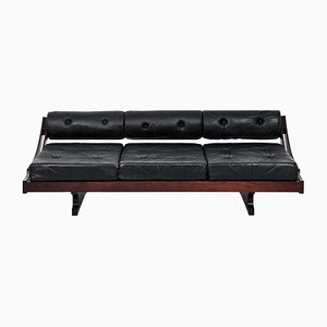 Model GS 195 Black Leather Sofa by Gianni Songia, 1960s