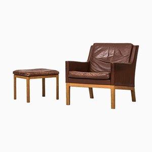 Easy Chair and Footstool by Kai Lyngfeldt Larsen for Søren Willadsen, 1965