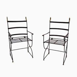Neo-Classic Foldable Armchairs in Metal and Bronze, 1970s, Set of 2