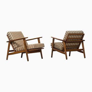 GE-233 Mid-Century Easy Chairs & Stool by Hans Wegner for Getama, 1950s