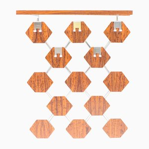 Honeycomb-Shaped Rosewood Veneered Wall Coat Rack, 1960s
