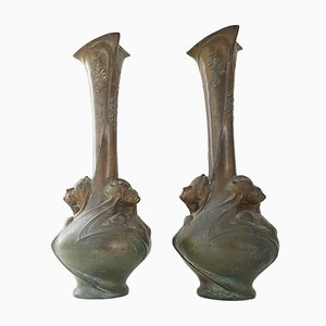 Antique Bronze Art Nouveau Vases by Melle Sibeud, Set of 2