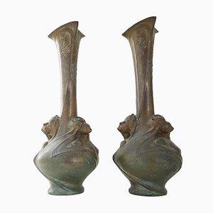 Jarrones modernistas antiguos de bronce de Melle Sibeud. Juego de 2