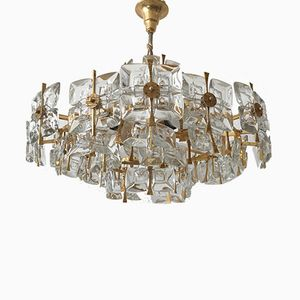 Mid-Century Crystal Glass Chandelier from Palwa, 1960s