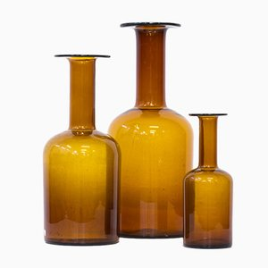 Vases en Verre par Otto Brauer pour Holmegaard, 1950s, Set de 3