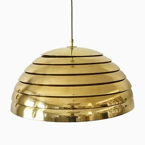 Large Mid-Century Modern Brass Dome Pendant Lamp from Vereinigte Werkstätten Collection