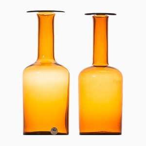 Jarrones vintage de vidrio de Otto Brauer para Kastrup Holmegaard. Juego de 2