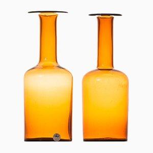 Vasi vintage in vetro di Otto Brauer per Kastrup Holmegaard, set di 2