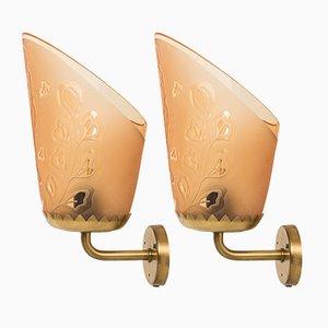 Lámparas de pared de Bo Notini para Glössner, años 40. Juego de 2