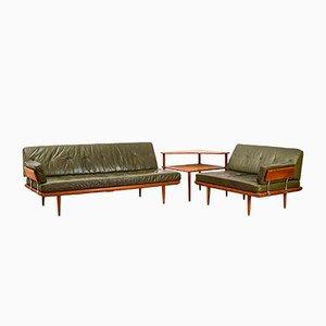 Danish Mid-Century Minerva Leather Living Room Set by Peter Hvidt & Orla Mølgaard-Nielsen for France & Søn, 1950s