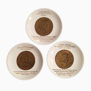 Platos vintage con monedas del Ducado de Milán de Piero Fornasetti, 1973