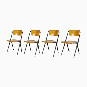 Vintage Pyramid Chairs by Wim Rietveld for Ahrend de Cirkel, Set of 4