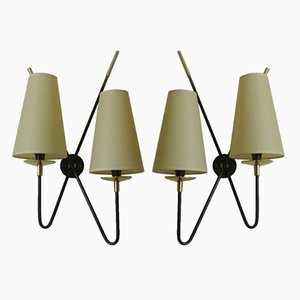 Doppelte Wandlampen von Maison Lunel, 1950er, 2er Set
