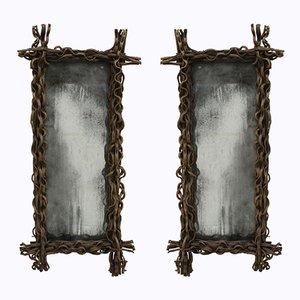 Espejos rectangulares, años 70. Juego de 2