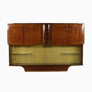 Alacena italiana de palisandro chapado con compartimento bar, años 50
